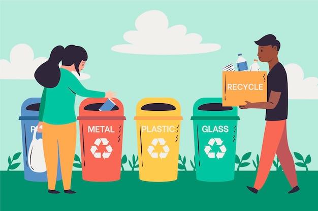 Pessoas reciclando produtos diferentes