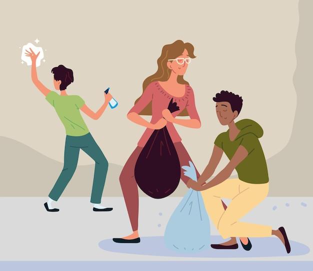 Pessoas relacionadas à limpeza