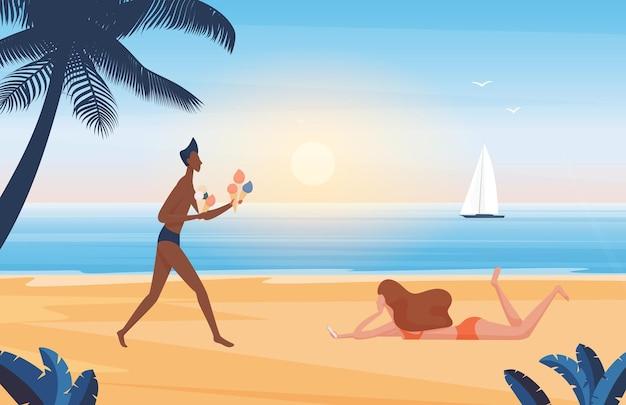 Pessoas relaxam nas férias de verão, mar, praia, numa ilha tropical, homem segurando sorvete
