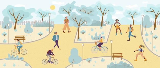 Pessoas relaxando, andando, andando de bicicleta, patinando no parque