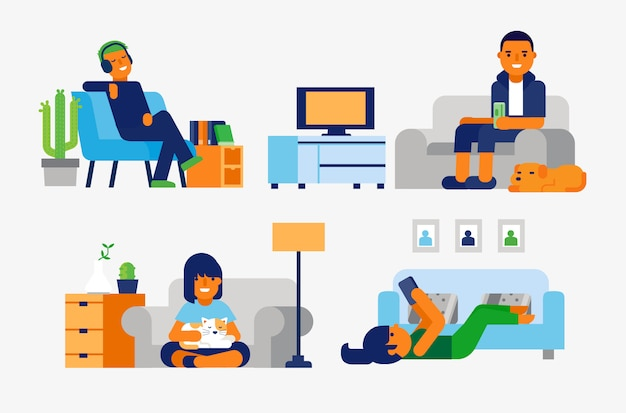 Pessoas relaxando em casa