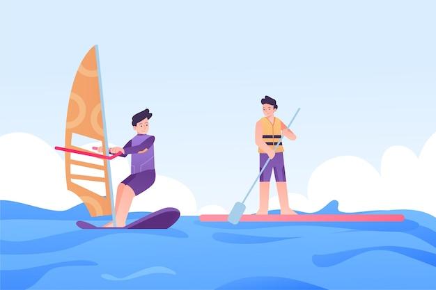 Pessoas relaxando enquanto fazia ilustração de esportes de verão