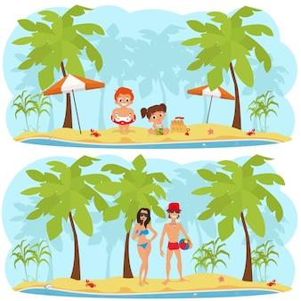 Pessoas relaxando na praia de uma ilha tropical.