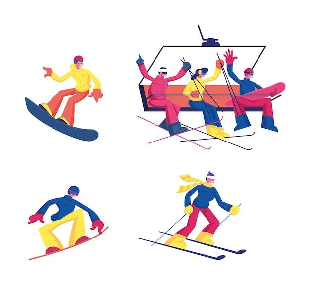 Pessoas relaxando no restaurante ou no conjunto de café. ilustração plana dos desenhos animados