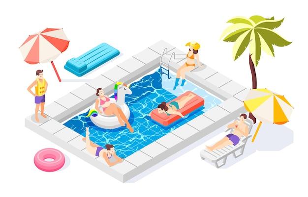 Pessoas relaxando perto da piscina com equipamento de natação 3d isométrico
