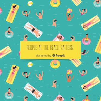 Pessoas, relaxante, praia, padrão