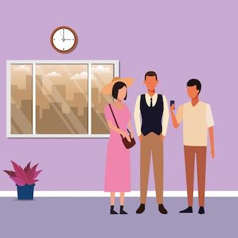 Pessoas, reunião, caricatura
