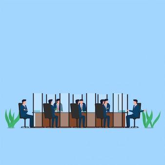 Pessoas reunidas na mesa com divisor em cada um de seus assentos metáfora do distanciamento físico. ilustração de conceito plana de negócios.