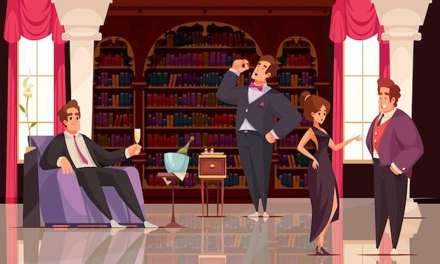 Pessoas ricas bebendo champanhe e conversando no interior da moda de uma ilustração de biblioteca doméstica