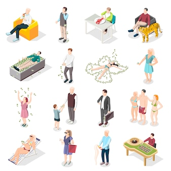 Pessoas ricas e ícones isométricos de vida rica