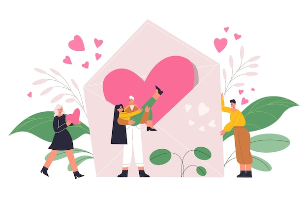 Pessoas românticas, casal apaixonado por um coração gigante, o conceito de dia dos namorados. personagens românticos felizes com ilustração em vetor coração vermelho e carta de amor. conceito de dia dos namorados