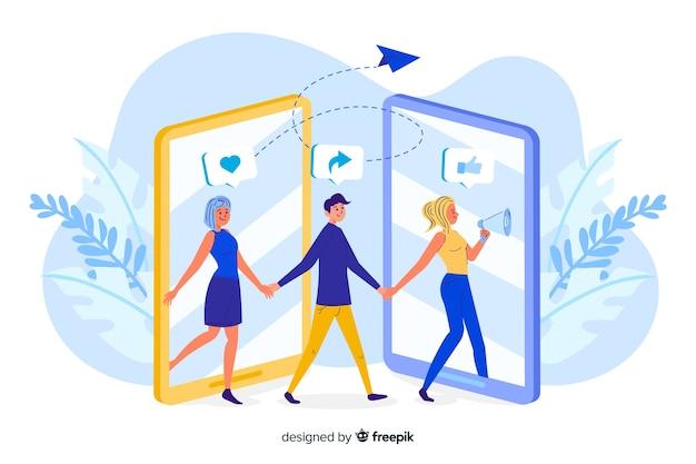 Pessoas saindo e entrando na ilustração de conceito de tela de telefone