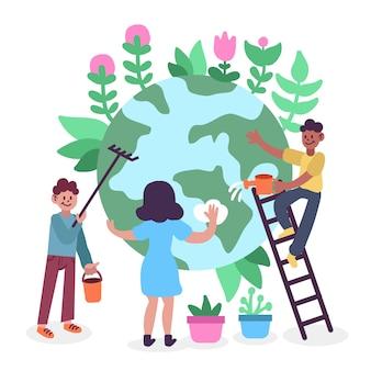 Pessoas salvando o planeta juntos