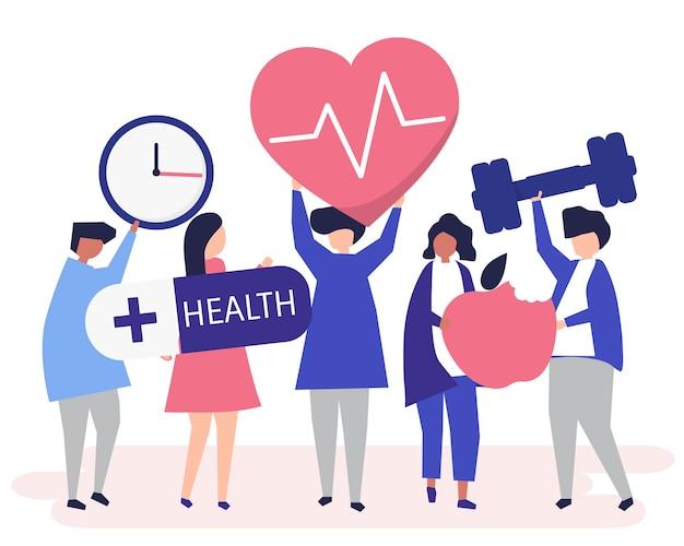 Pessoas saudáveis, carregando ícones diferentes