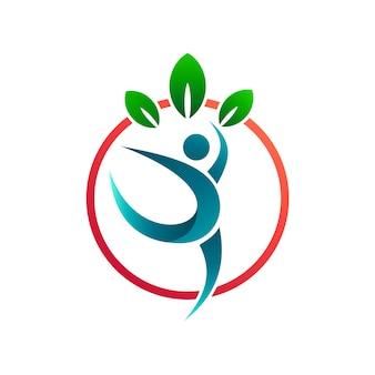 Pessoas saudáveis com modelo de logotipo de folhas