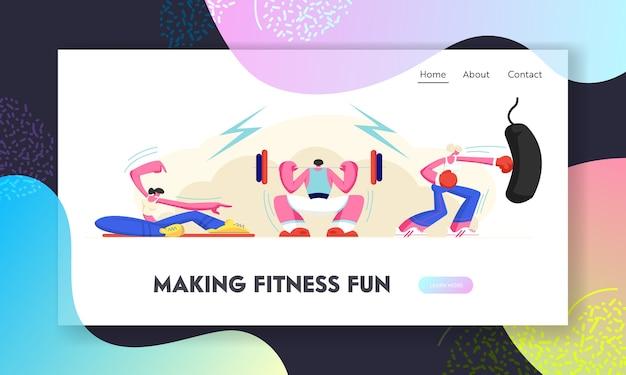 Pessoas saudáveis, exercitando no ginásio.
