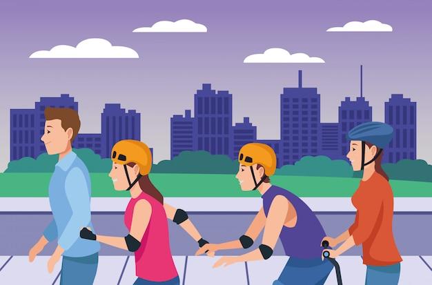 Pessoas, scooter, rolando, patins