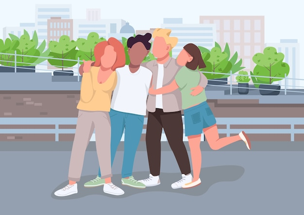 Pessoas se abraçam e ficam juntas