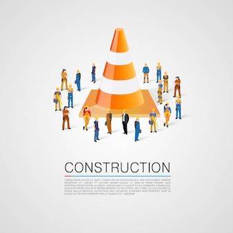 Pessoas se aglomeram com cone de tráfego. ilustração vetorial