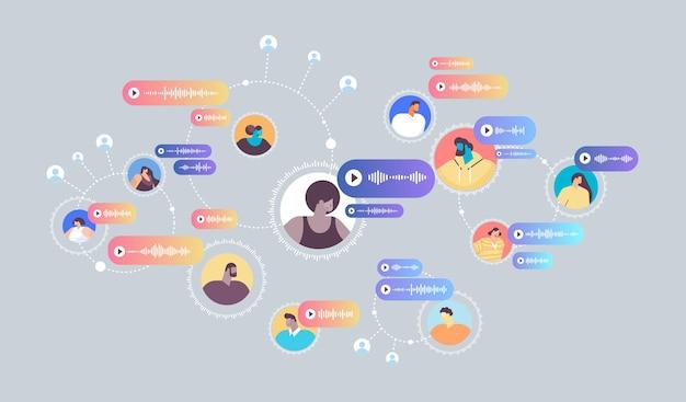 Pessoas se comunicam em mensageiros instantâneos por mensagens de voz aplicativo de bate-papo de áudio mídia social conceito de comunicação online ilustração vetorial horizontal