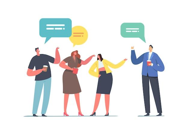 Pessoas se comunicando com balões de fala durante o intervalo para café meetup