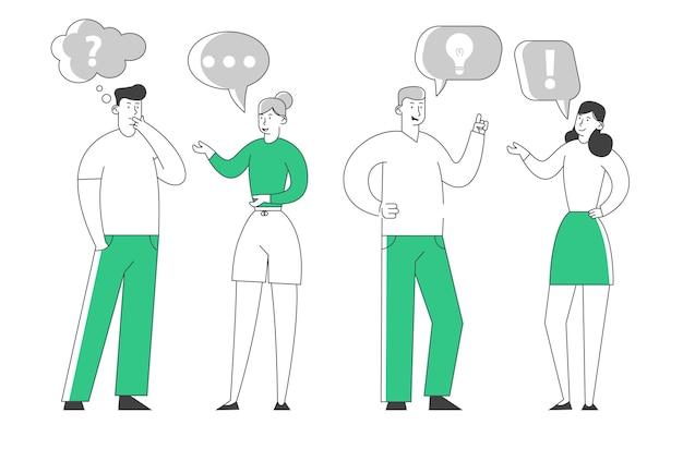 Pessoas se comunicando com balões de fala em fundo branco.
