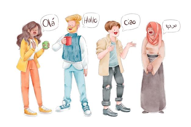 Pessoas se comunicando em diferentes idiomas