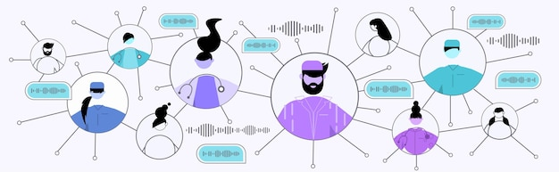 Pessoas se comunicando por mensagens de voz em aplicativos móveis de áudio e bate-papo nas mídias sociais on-line