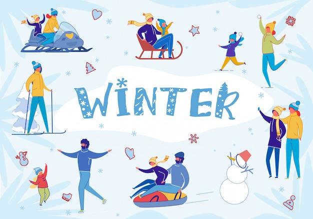 Pessoas se divertindo, aproveitando a atividade de neve do inverno.