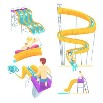 Pessoas se divertindo jogando toboáguas, definido. desenhos animados ilustrações detalhadas