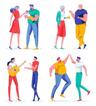 Pessoas se divertindo juntos, personagens de desenhos animados.