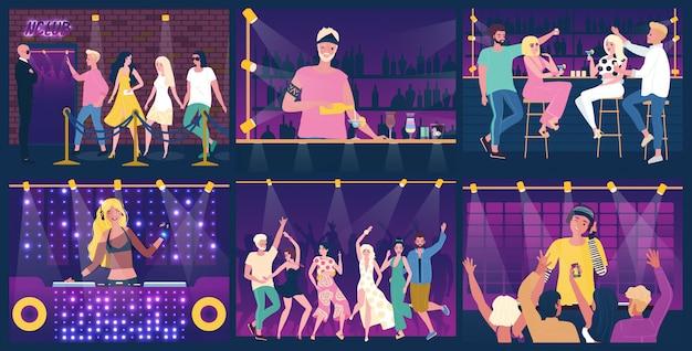 Pessoas se divertindo na festa na boate, dançando e bebendo, ilustração