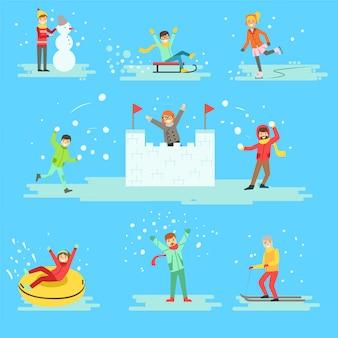 Pessoas se divertindo na neve no inverno conjunto de ilustrações
