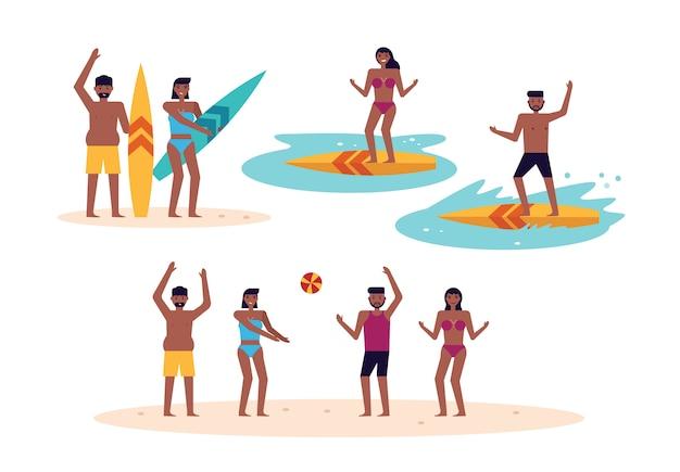 Pessoas se divertindo na praia. surfista e jogando bola.