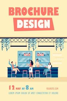 Pessoas se encontrando em um café, bebendo cerveja em um bar, sentando à mesa ou no balcão e conversando sobre modelo de folheto