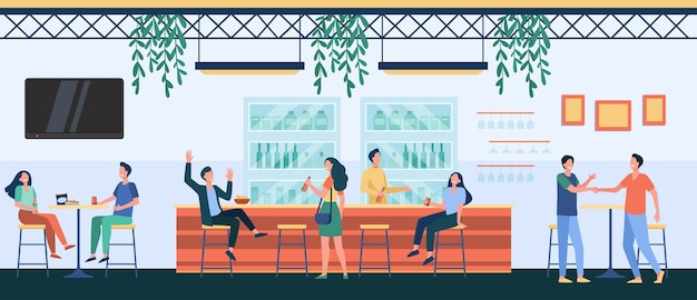 Pessoas se encontrando no café, bebendo cerveja no bar, sentando à mesa ou no balcão e conversando. ilustração vetorial para vida noturna, festa, conceito de bar