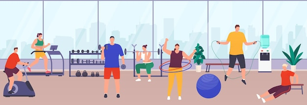 Pessoas se exercitando na academia, equipamentos esportivos, equipamentos de ginástica femininos e masculinos. as pessoas fazem vários exercícios no ginásio para manter um estilo de vida saudável. academia de ginástica com janelas panorâmicas e vista da cidade.