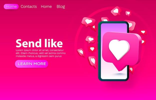 Pessoas seguidoras sociais, como o ícone de um coração, design de banner de site da web.
