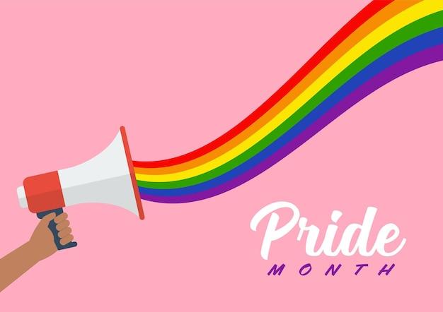 Pessoas seguram megafone com arco-íris lgbt. mês do orgulho. ilustração vetorial