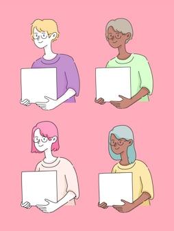 Pessoas segurando a caixa inserir texto ilustração bonita