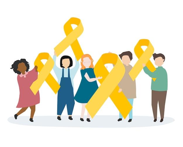 Pessoas, segurando, amarela, consciência, fita