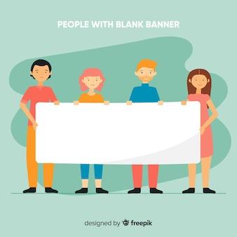 Pessoas, segurando, bandeira branca, fundo