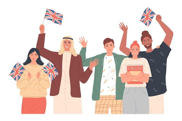 Pessoas segurando bandeiras de inglês, estudando viagens ou educação na escola de inglês