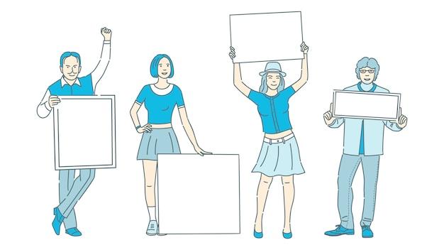 Pessoas segurando cartazes com espaço para ilustração dos desenhos animados de texto. ativismo, demonstração, publicidade.