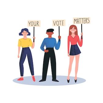 Pessoas segurando cartazes seu voto é importante. conceito de vetor de demonstração de rua. ilustração vetorial