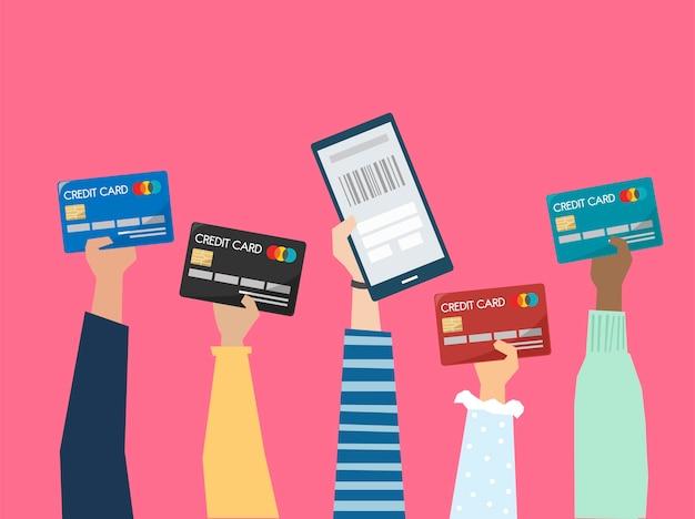 Pessoas, segurando, crédito, cartões, ilustração