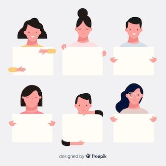 Pessoas, segurando, em branco, painélard, collectio