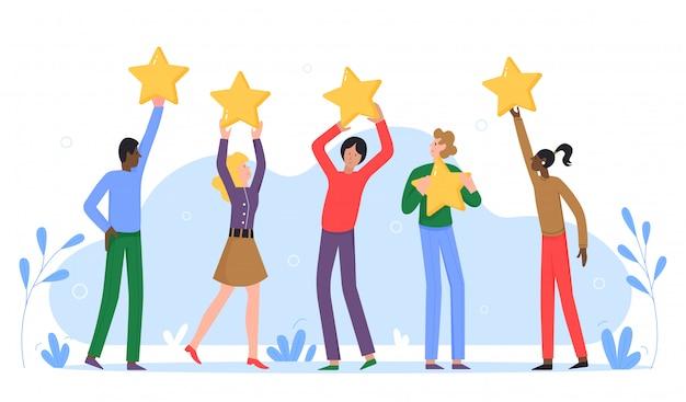 Pessoas segurando estrelas de taxa de ouro. feedback do consumidor ou avaliação da revisão do cliente, nível de satisfação. classificação do júri na ilustração do conceito de competição.