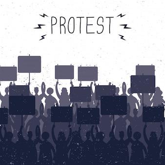 Pessoas segurando faixas de protesto com silhuetas de ilustração de cena