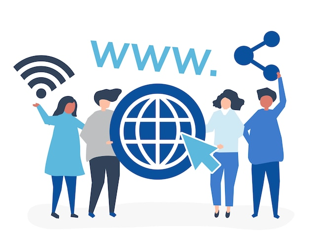 Pessoas segurando ícones da world wide web